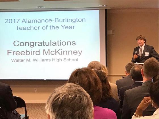 Freebird McKinney- ABSS 2017 District Teacher of the Year