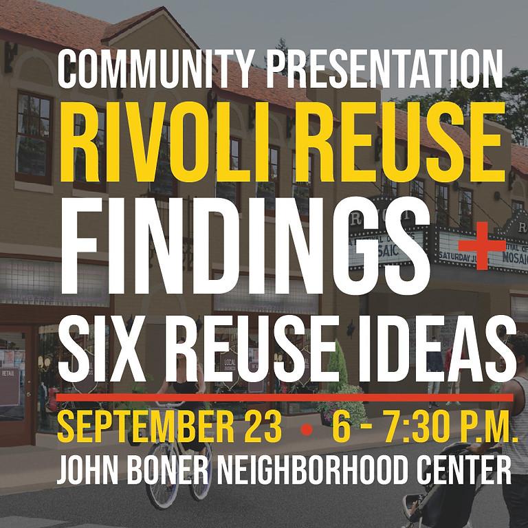Community Presentation | Rivoli Reuse Findings +  Six Reuse Ideas