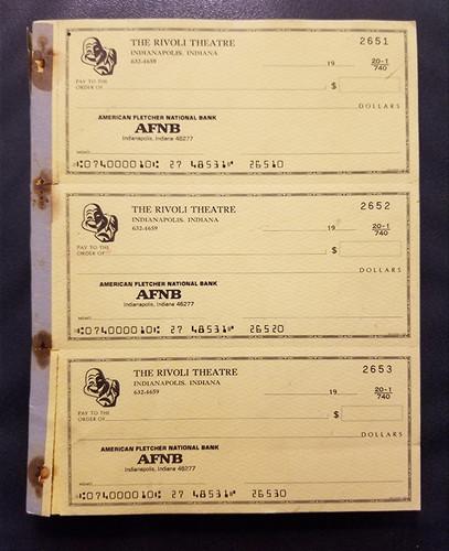 Rivoli Checkbook, American Fletcher National Bank
