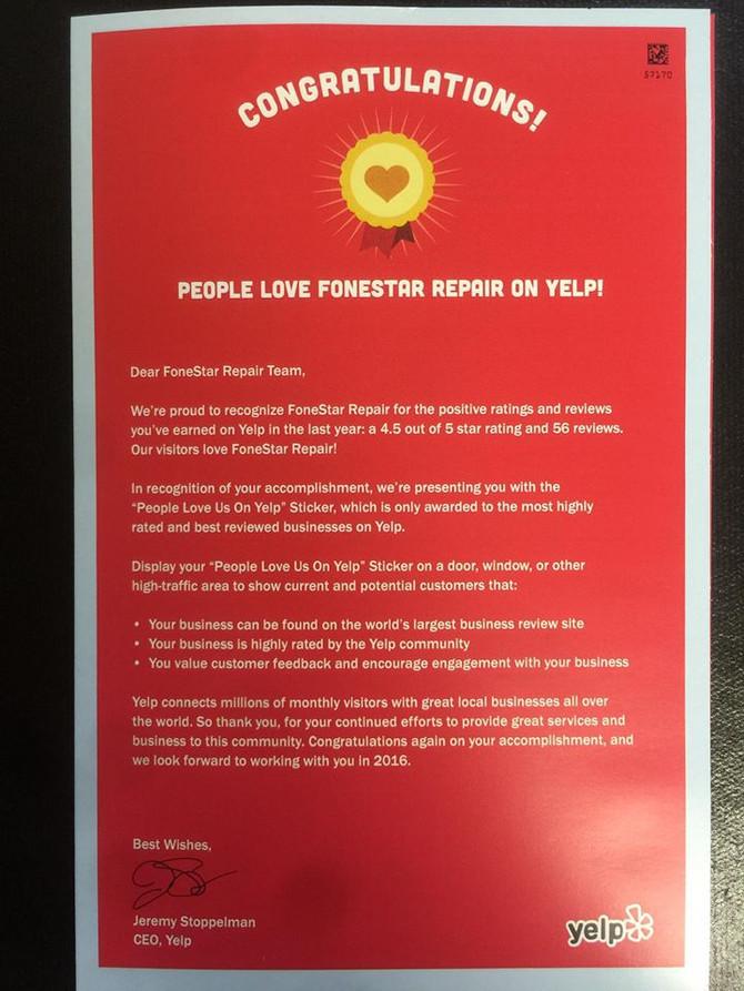 FoneStar Repair recognized by Yelp!