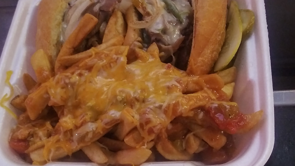 Phili Cheese Steak &Green Chili Fries