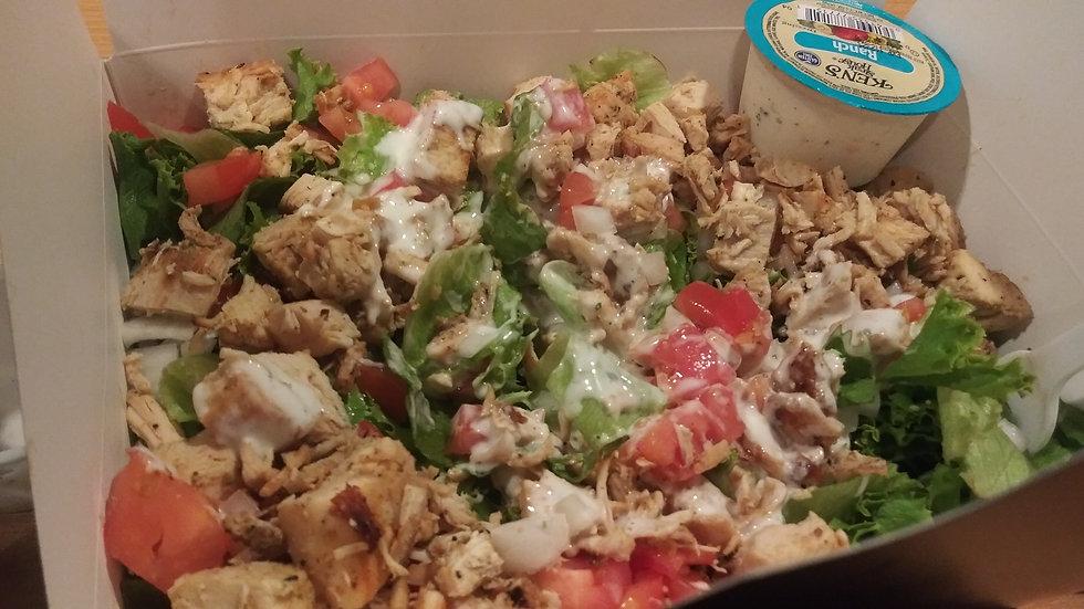 Chicken,Bacon, tomato and onion Salad