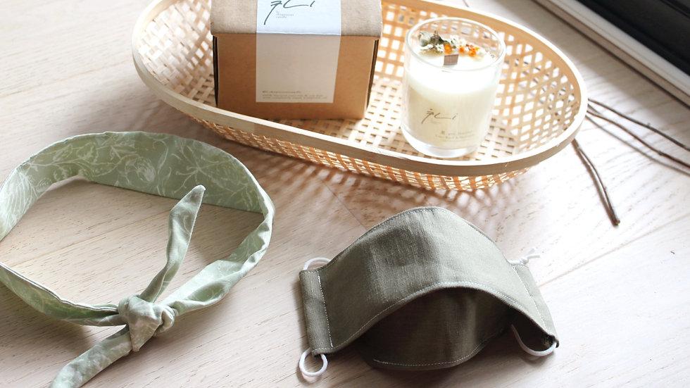 Linen 3D Mask & Matching Headband