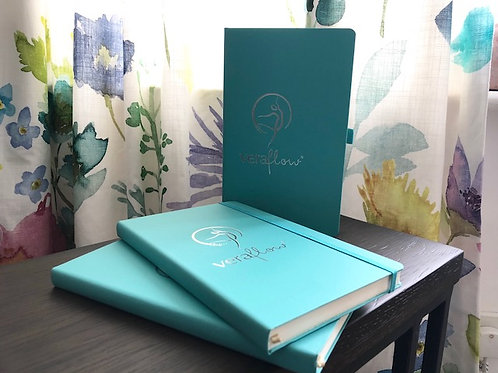 Teal soft-touch VeraFlow ruled notebook