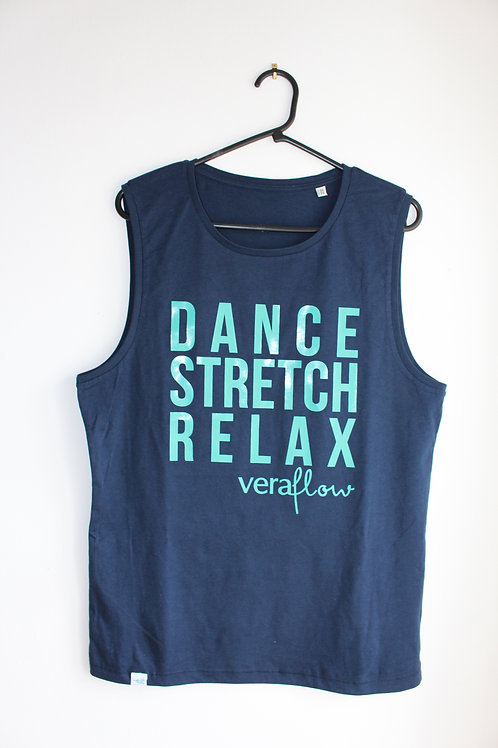 Dance Stretch Relax Organic Mens Sleeveless Tee - Navy