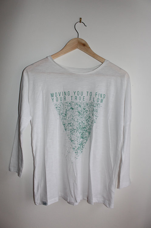 Moving You To Find Your True Flow 3/4 sleeve Tee - White