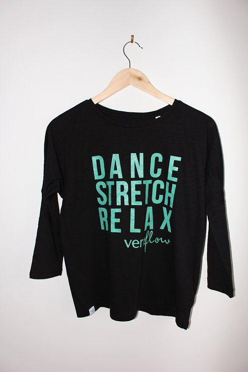 Dance Stretch Relax 3/4 sleeve Tee - Black