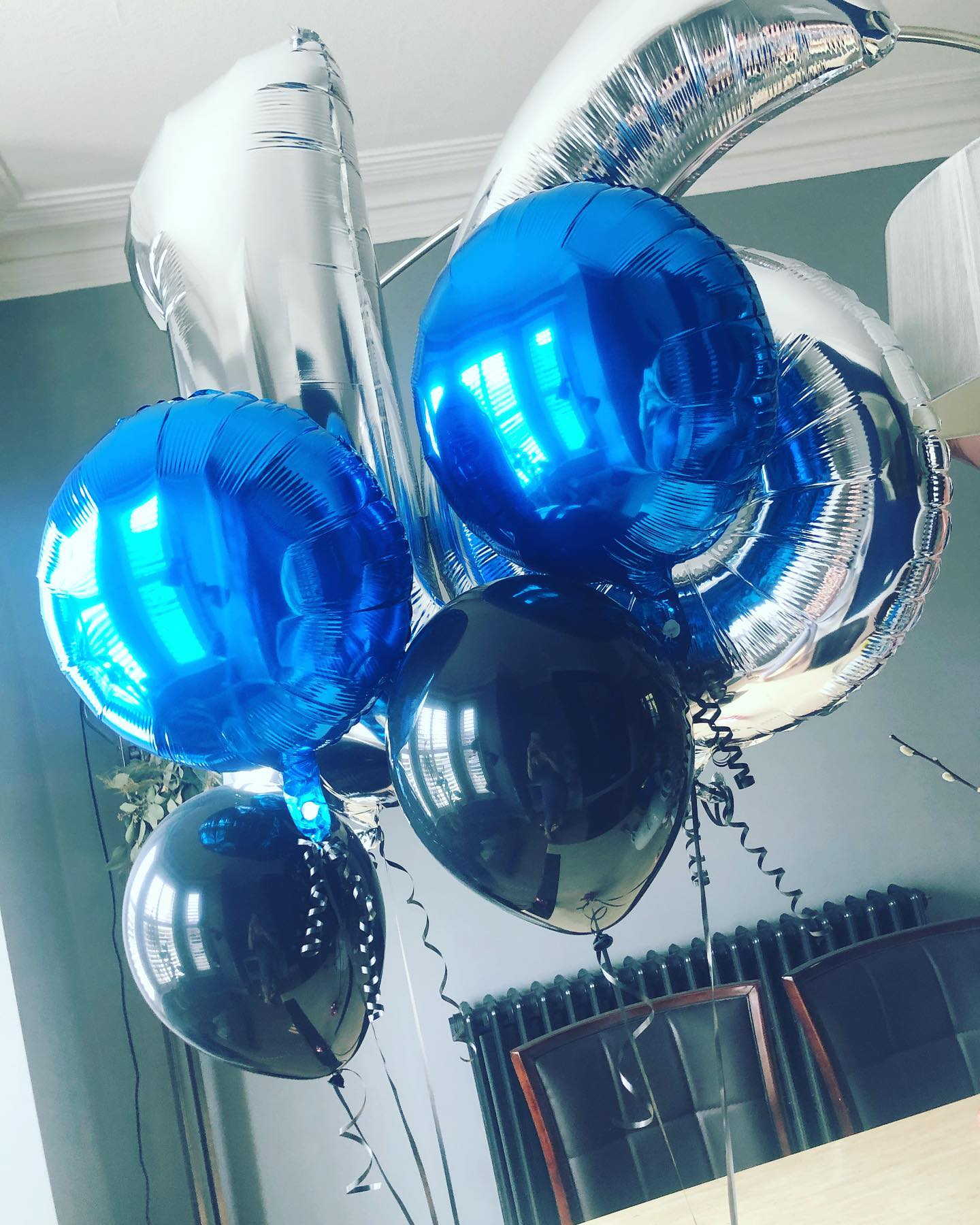 Silver 16 balloons, blue foil and black latex balloons