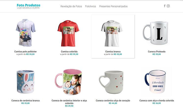 E-commerce para venda de produtos personalizados