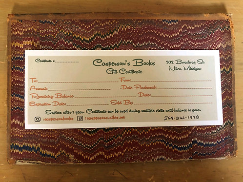 Casperson's Books and Art Gift Certificate