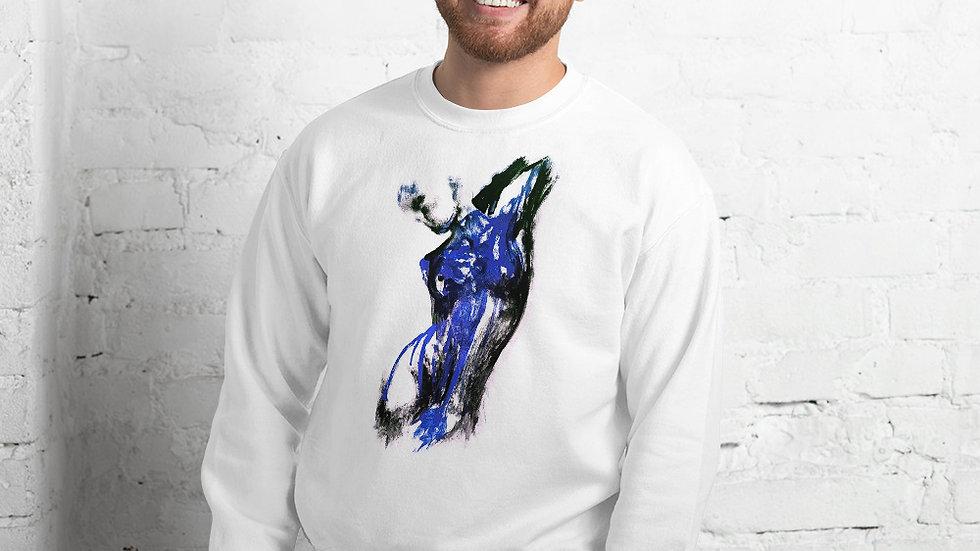 Stroke Piece #1 Art (white & blue) Sweater