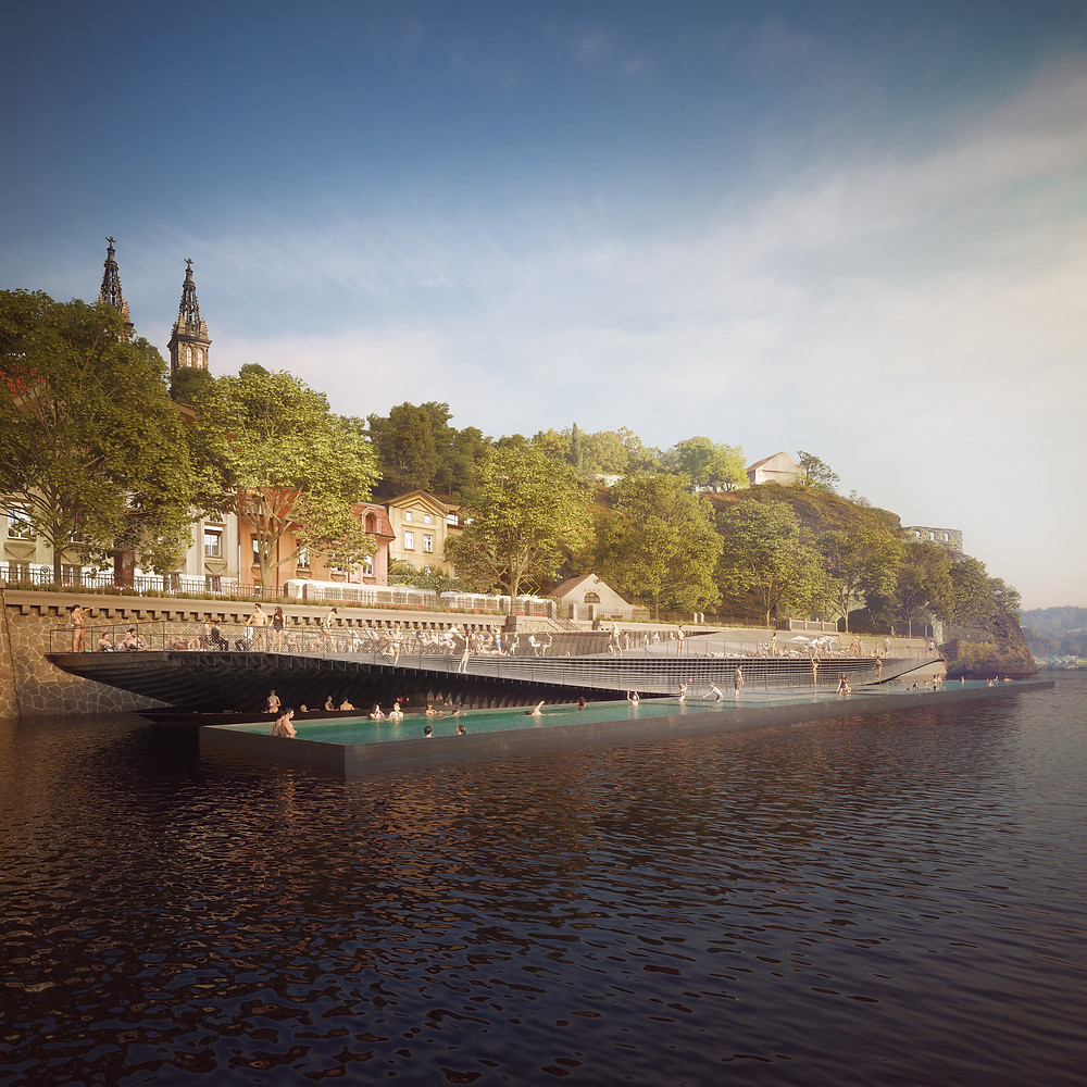 Floating Pool for Prague's Rašín Riverfront