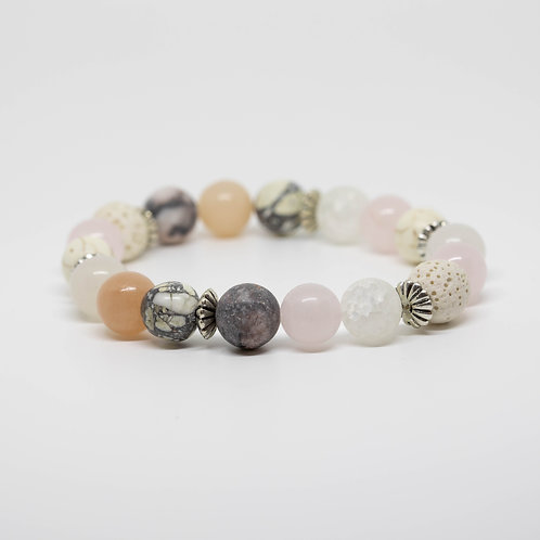 Rose Quartz, Howlite, Zebra Stone