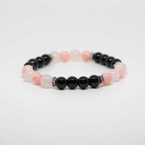 Onyx, Coral, Rose Quartz