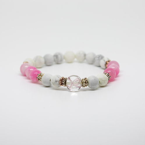 Howlite & Pink Chalcedony- Breast Cancer Awareness