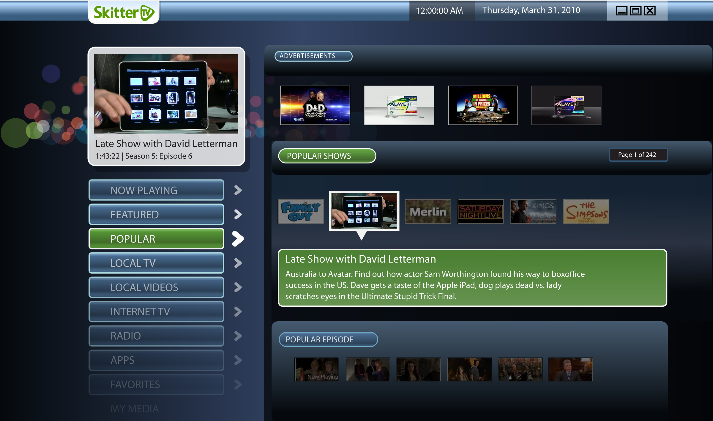 SkitterTV Main menu