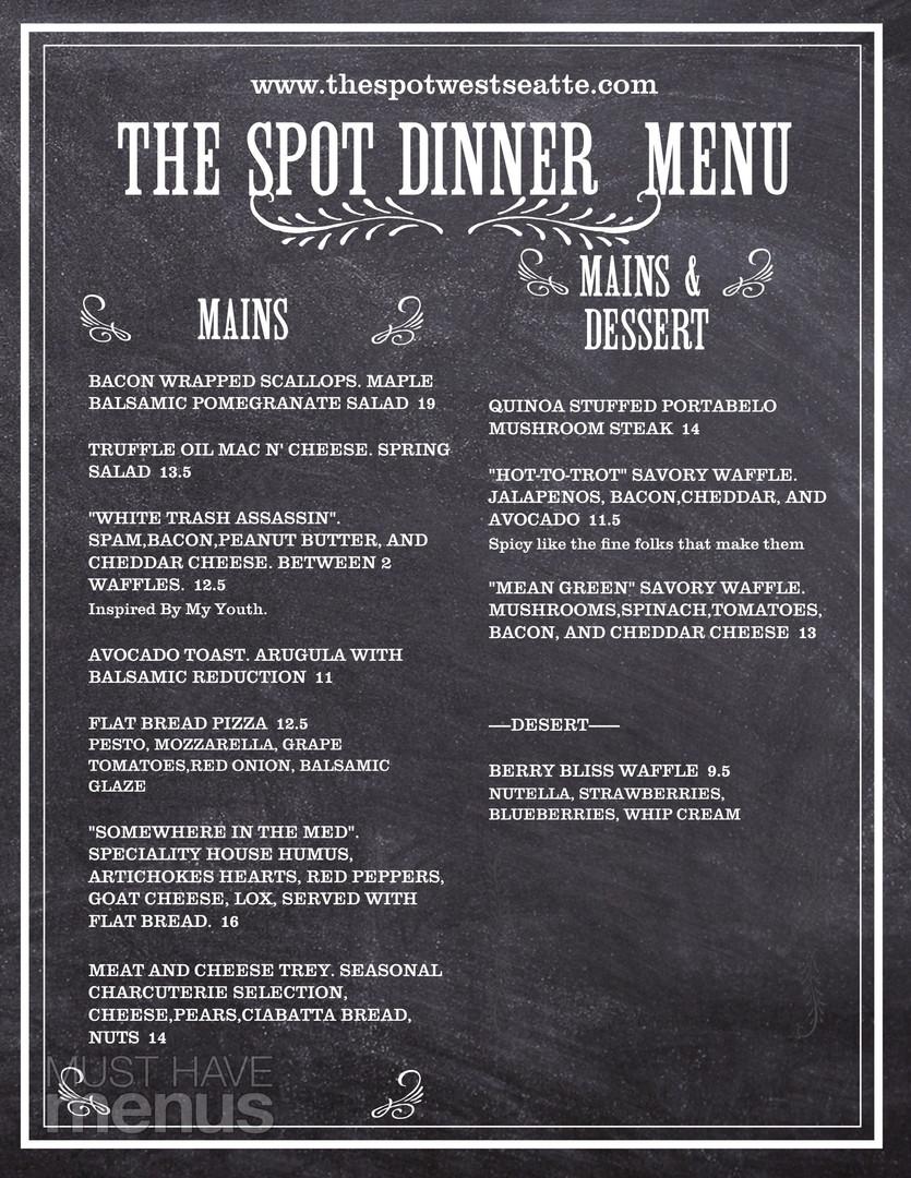 The Spot West Seattle Dinner Menu