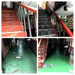 熊本県熊本市中央区下通Yビル通路塗装・階段シート張替工事