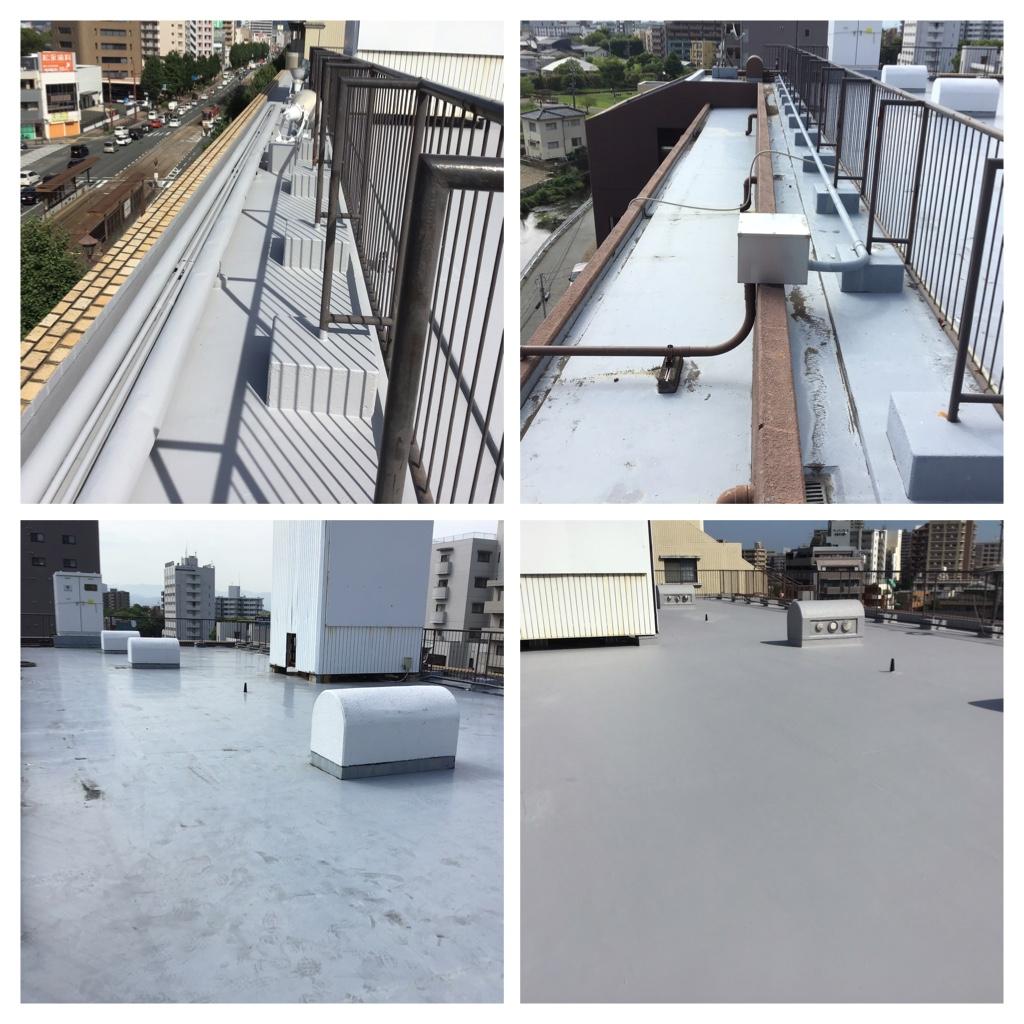 熊本市中央区水前寺公園Sビル屋上防水工事