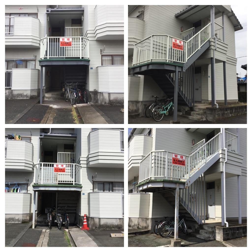 熊本市南区鳶町 鳶町ハイツ鉄骨階段塗装工事