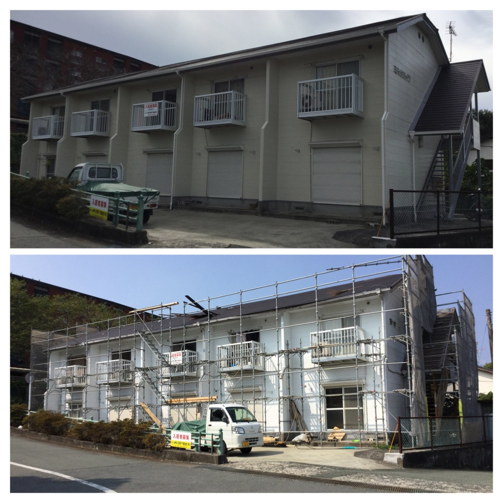 熊本市北区新地 ミヤタハイツ外壁塗装工事