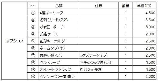 横浜市のランドセル リメイク工房Atrie-Taka(アトリエ タカ) - 料金表2