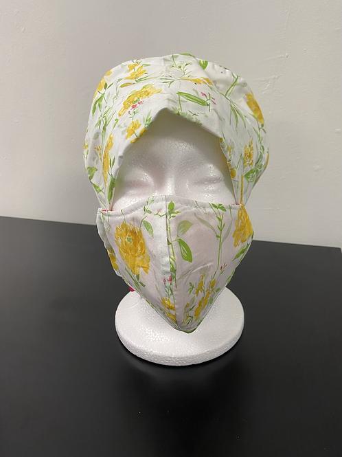 Pretty Yellow Flower Bouffant and  Mask Set