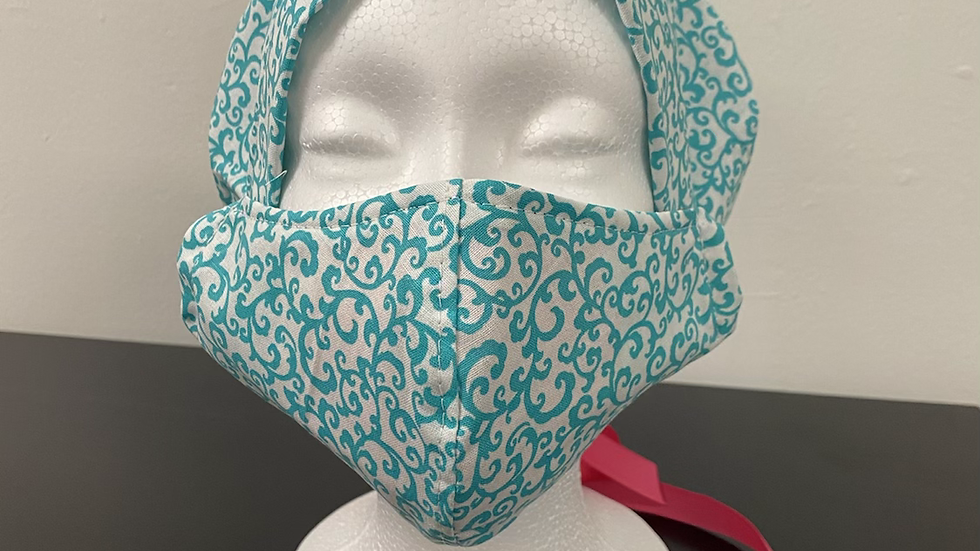 Green and White Swirl Bouffant and Mask Set
