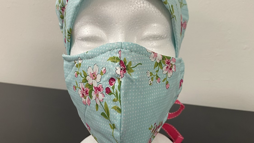 Pretty Pink Flowers Bouffant and Mask Set