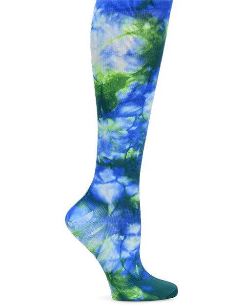 Nurse Mates Compression Sock - Tie Dye Royal/Green wide calf 883758W