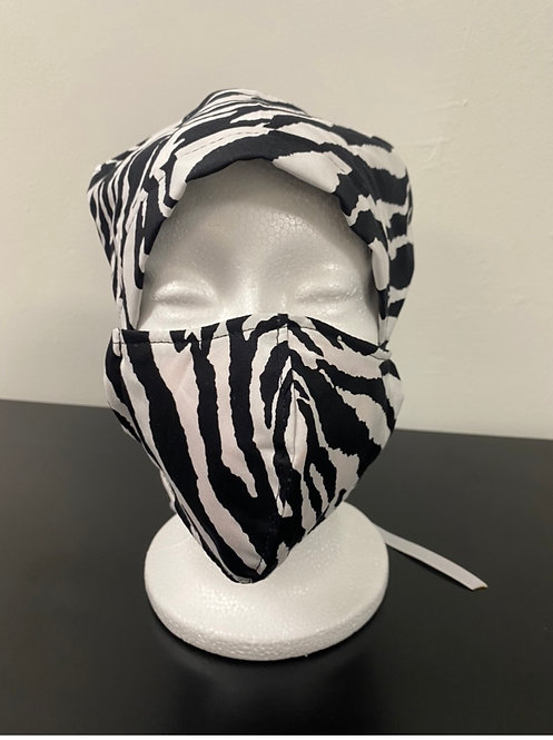 Black and white bouffant and mask set