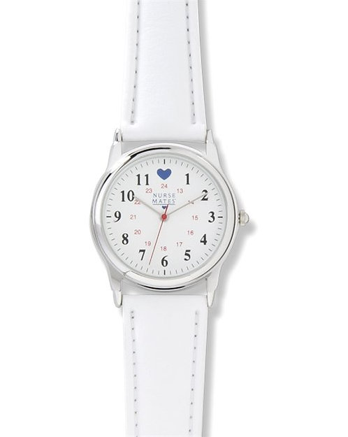 Nurse Mates Watch - Chrome Military Dial with Blue Heart 869004