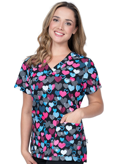 Zavate Ava Therese Follow Your Heart V-Neck Orint Top
