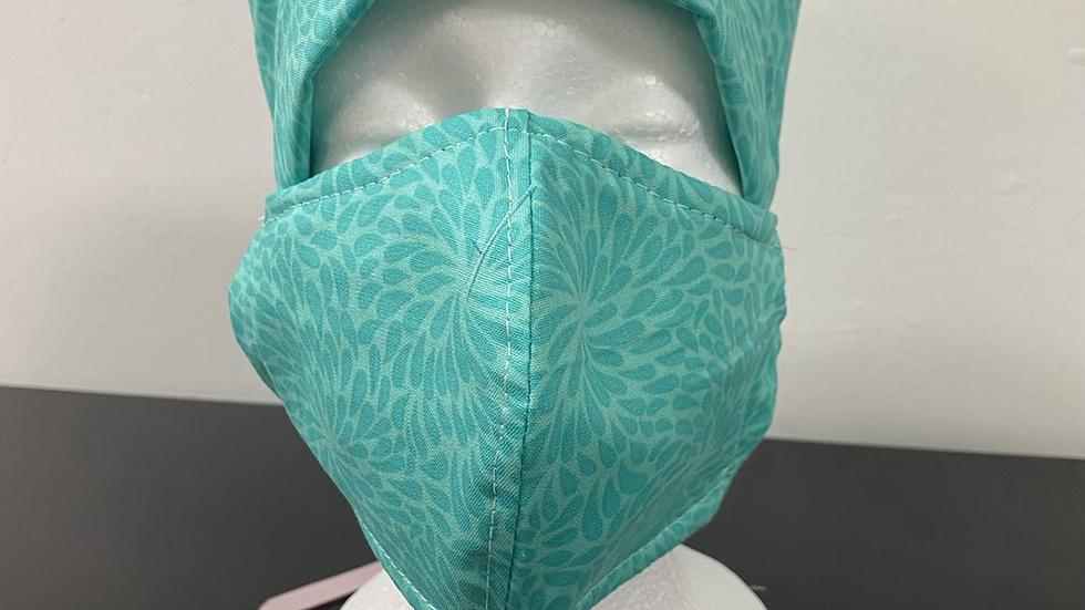 Turquoise Print Bouffant and Mask Set