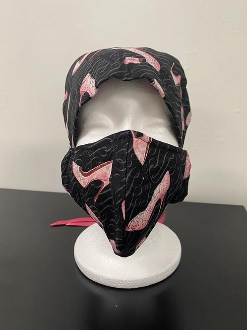 Pink High Heel Bouffant and Mask set