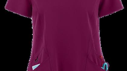Zavate Ava Therese Back Rib Knit V-Neck Scrub Top
