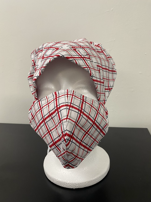 Red and White Plaid Bouffant and Mask Set