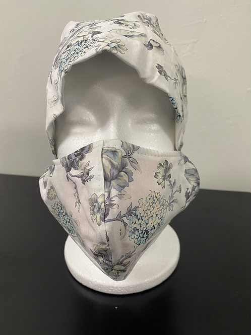 Grey floral with white background  Bouffant and Mask Set