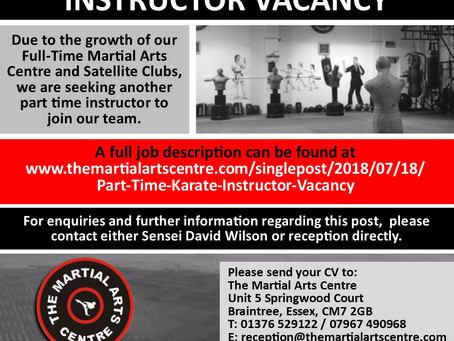 Part Time Karate Instructor Vacancy