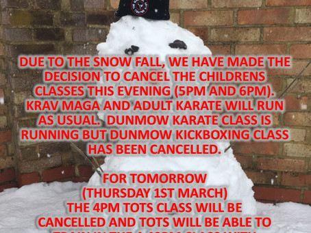 CLASS CLOSURES - SNOW DAY!