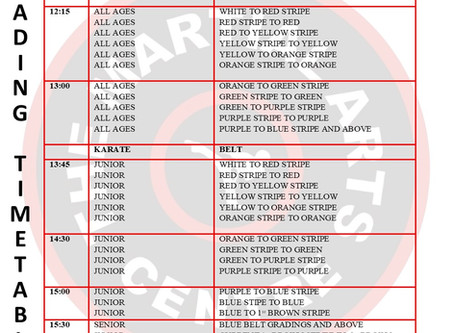 Note grading timetable for Saturday 29th August