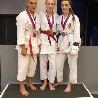 Kumite - Abbie Sutton (Gold), Tiah Stewart (Silver) & Paige Mellor (Bronze)
