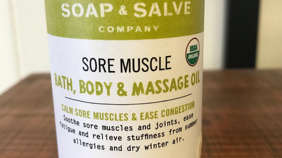 Sore Muscle Bath, Body & Massage Oil
