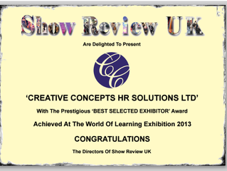 'BEST SELECTED EXHIBITOR' Award Achieved At The World Of Learning Exhibition 2013
