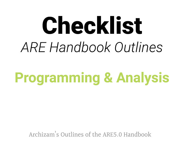Programming and Analysis Outline