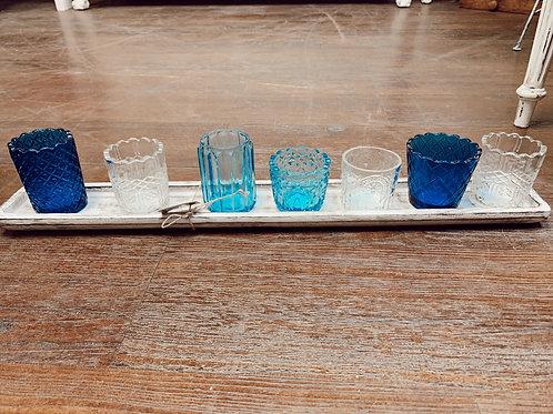 Blue Textured Glass Votive Tray Set