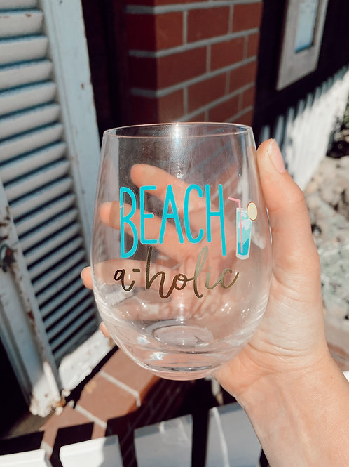 Beach Happy Hour Stemless Wine Glass