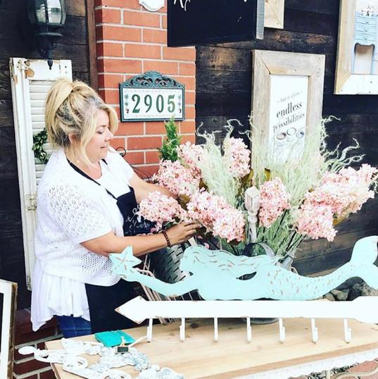 Karen (owner) making arrangement