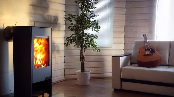 Modern wood burning stove inside cozy li
