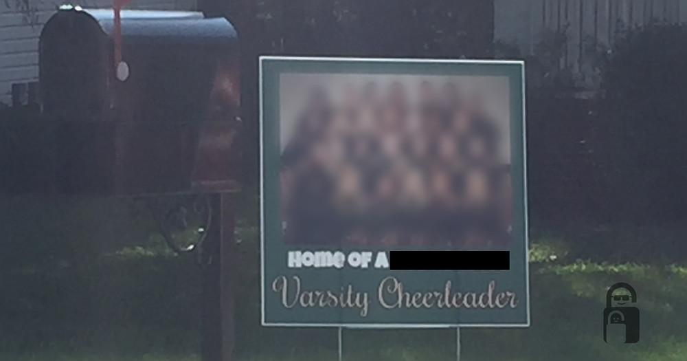 Yard Sign | Cheerleader | The Secure Dad | Secure Dad